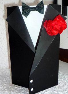 Como realizar una original y elegante tarjeta de smoking para regalar en el día del padre.
