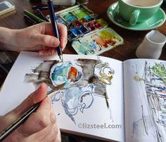 Amazing urban sketcher Liz Steel.