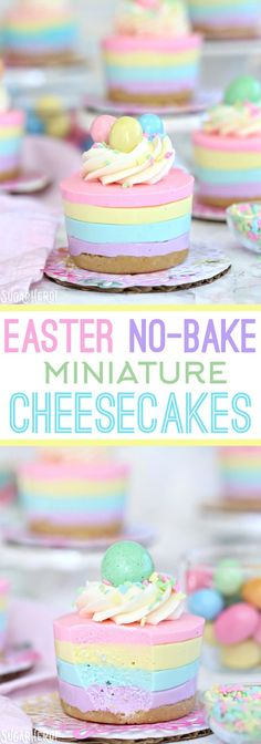 Easter No-Bake Mini Cheesecakes - pastel striped cheesecakes that are super easy, no baking required! | From SugarHero.com (Easy Baking Cheesecake)