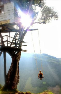 This unique little gem is located literally on the edge of the cliff at La Casa Del Arbol in Baños, Ecuador. Some call it the swing at the end of the world because of its location and the mesmerizing views of the Tungurahua volcano and the mountains.
