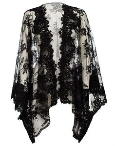 Shop Ghost Kimono Black from Ida Sjostedt in Blouses, available on Tictail from kr Abaya Fashion, Kimono Fashion, Work Fashion, Fashion Outfits, Fashion Design, Boho Kimono, Kimono Top, Kimono Style, Blouses For Women