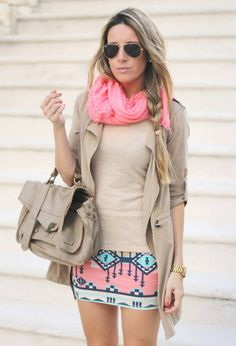 Aztec Skirt  #Scarves #Sunglasses #Trenches