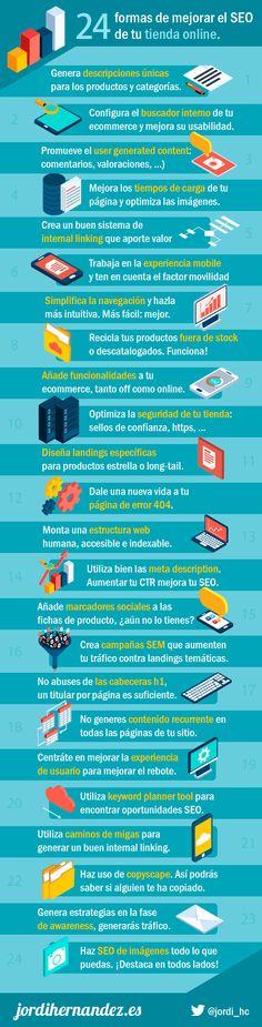 24 formas de mejorar el SEO de tu tienda online #infografia #seo #ecommerce