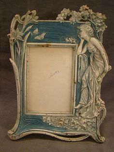 Antique ART NOUVEAU Era CAST IRON Figurative LADY  FLOWER   JV