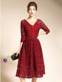 Red Lace Crochet V-neck Button Front 3/4 Sleeve Midi Dress