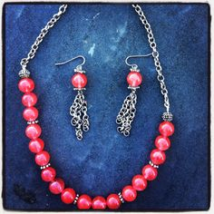 Coral beads with silver findings and chain, necklace and earrings
