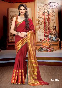 Sarees - Ruby Red And Golden Exquisite Aura Silk Collections - Wedding / Party / Special Occasions Designer Sarees Online Shopping, Latest Designer Sarees, Wedding Saree Collection, Elegant Fashion Wear, Net Saree, Handloom Saree, Party Wear Sarees, Saree Wedding, Wholesale Clothing