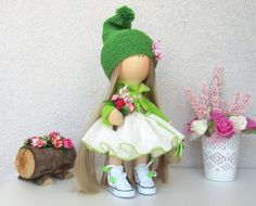 Gnome Doll-Handmade Doll-Fabric Doll-Rag by NICEDOLLSANDRABBITS