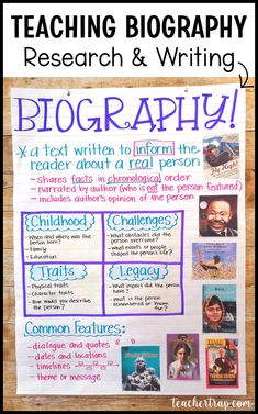 The genre of biography is amazing for teaching so many essential reading and writing skills! Plus, biography serves double-duty when students research and learn about an important figure. 4th Grade Writing, 3rd Grade Reading, Teaching Writing, Writing Skills, College Teaching, Teaching History, How To Teach Writing, Library Skills, History Activities