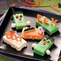 "Frightfully Good Cakes Recipe  If there is one word to describe these one- or two-bite cakes, it is EASY! Use different Halloween candies to make different cakes, such as ""Boo"" or Frankenstein.—Taste of Home Test Kitchen"