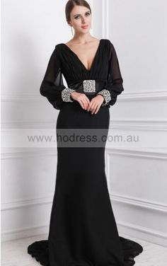 Long Sleeves Zipper Chiffon V-neck A-line Formal Dresses gjea70290--Hodress
