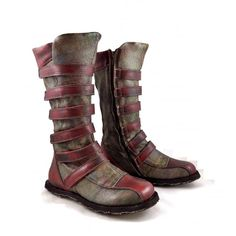 Eject Street Mid Calf Boots with Straps in Red Leather | rubyshoesday