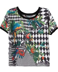 Black White Short Sleeve Diamond Birds Print Blouse - Sheinside.com