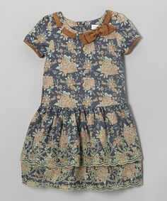 Take a look at this Blue Floral Bow Dress - Infant, Toddler & Girls on zulily today!