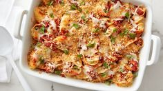 Chicken Parmesan gets a new spin in this easy-to-make (and quick-to-disappear!) pasta bake. Jumbo shells are stuffed with cheesy chicken filling and topped with crispy toasted bread crumbs in this delicious dinner.