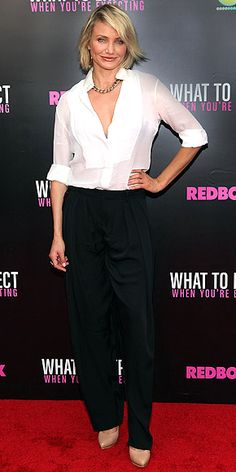 CAMERON DIAZ What to Expect When You're Expecting's star fetes the film's N.Y.C. premiere in a breezy unbuttoned Stella McCartney blouse and wide-leg trousers, plus a collar necklace and Kimberly McDonald ring.