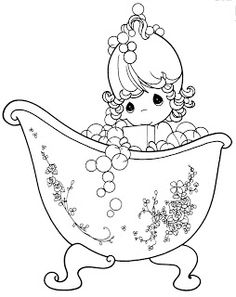 Free colouring pages - bubbles and bathtub