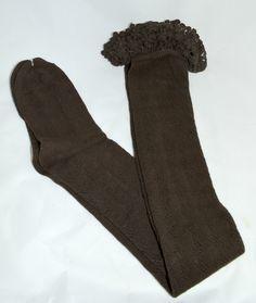 Chocolate Crochet Trim Boot Socks