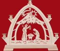 Taulin Erzgebirge Gotischer Bogen für Wachskerzen 42,5 cm Stall modern
