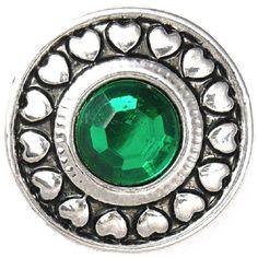 crystal noosa, chunk charm, green crystal, style charm, charm heart