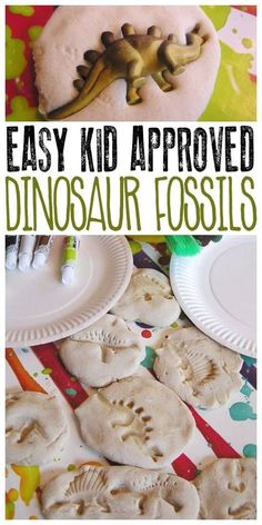 Make these dinosaur fossils with kids out of 3 kitchen ingredients and then paint them to make them more realistic or leave them natural. Perfect for dinosaur birthday party.