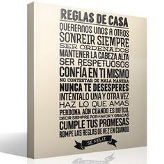 Vinilos Decorativos: Reglas de la Casa 2 Welcome To My House, Family Rules, Home Wall Art, Sweet Home, New Homes, Wall Decor, Lettering, Design, Home Decor