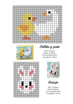 duck, goose and bunny hama beads pattern Tiny Cross Stitch, Beaded Cross Stitch, Cross Stitch Animals, Cross Stitch Designs, Cross Stitch Embroidery, Cross Stitch Patterns, Hama Beads Patterns, Beading Patterns, Knitting Charts