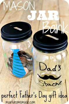Looking for a quick DIY craft for Father's Day your kids can make? See how easy this Mason Jar Bank is to make for a perfect Fathers day gift idea or christmas gift idea.