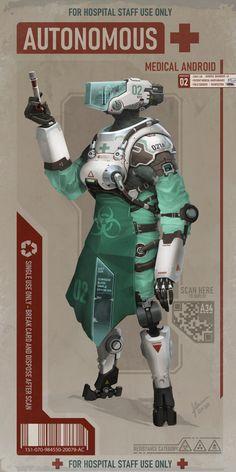 Doctors & Nurses - Character Design Challenge by. - The Art Showcase Robot Concept Art, Armor Concept, Character Concept, Character Art, Character Design, Medical Robots, Arte Cyberpunk, Cyberpunk Fashion, Nurse Art