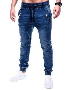 SPODNIE MĘSKIE JEANSOWE JOGGERY P404 - NIEBIESKIE - Sklep Ombre Jogger Pants Outfit, Jogger Pants Style, Mens Jogger Pants, Smart Casual Outfit, Casual Wear For Men, Stylish Mens Outfits, Denim Fashion, Fashion Pants, Mens Indian Wear