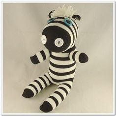 Handmade Sock Zebra Stuffed Animal Doll Baby by supersockmonkey. I am in love with this!