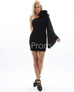 Fashionable Sheath/Column One-Shoulder Short/Mini-Length Cocktail Dress