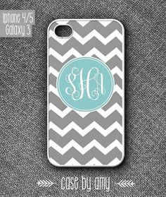 Grey Monogram Chevron print case for iPhone 4/4s, iPhone 5, Samsung Galaxy S3 - Phone accessories - iPhone Cover, Case - $16.80  at http://casebyamy.etsy.com