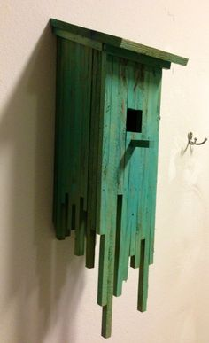 Love this green dripped #birdhouse because it would look great in any #garden scheme
