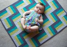 Cool Breeze Modern Baby Quilt by PeaceLoveandQuilts.  Love the colors and baby is adorable.