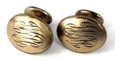 Edwardian Cufflinks Gold Filled Bean Back Initials W G M 1900-1910 Engraved Cuff Links