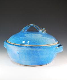 Large Lidded Casserole in Sky Blue Glaze  / Wheel Thrown Pottery in Stoneware Clay. via Etsy. 75.00