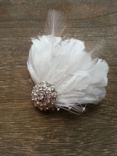 Bridal Clip  Birdcage Netting Feather Hairpiece by shopjaxiebridal, $78.00