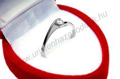 EFC - 27.450 Ft 14 karátos fehér arany cirkónia köves Eljegyzési Gyűrű 48-60-as méretig azonnal raktárról www.uristenhazasodunk.hu