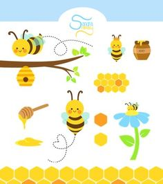 This is a clip art collection of honey bees created by Sandra fantasy. Bees For Kids, Bee Coloring Pages, Honey Logo, Bee Clipart, Bee Party, Bee Friendly, Bee Crafts, Bee Design, School Decorations