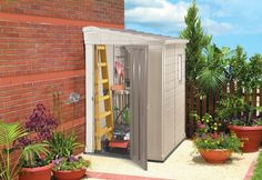 Pent 4 x Under Eaves Shed, Storage Shed Shed Storage, Storage Spaces, Tall Cabinet Storage, Potting Sheds, Shed Design, Cabana, Space Saving, Townhouse, Porch