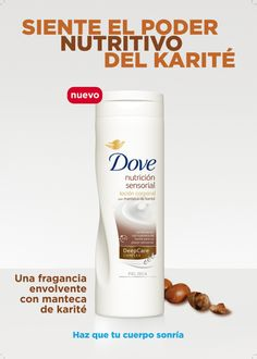 Página de publicidad loción corporal nutrición sensorial de Dove.  2011 - Unilever