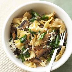 Farfalle with Mushrooms and Spinach - make it vegan by leaving out the Parmesan or using a blend of nutritional yeast, almonds and salt.