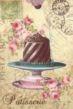 Postcard,Cake on stand with postmarks, stamp and pink roses. Decoupage Vintage, Decoupage Paper, Shabby Vintage, Vintage Tea, Vintage Cards, Vintage Postcards, Vintage Images, Vintage Paper, Cupcake Torte