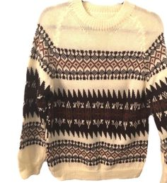 6a7c58044b Vintage Woman s Ski Sweater No Size Tag Blend Medium M L Brown Cream Tan  Crew  Unbranded
