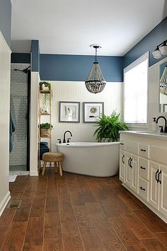 Bathroom Design Ideas Navy blue and white master bathroom designs.Navy blue and white master bathroom designs.Awesome Bathroom Design Ideas Navy blue and white master bathroom designs.Navy blue and white master bathroom designs. Rustic Master Bathroom, Modern Farmhouse Bathroom, Rustic Farmhouse, Farmhouse Style, Farmhouse Ideas, Bathroom With Wood Floor, Gold Bathroom, Charcoal Bathroom, Master Bathroom Layout