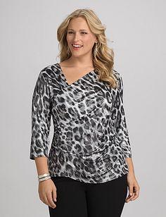 Plus Size Leopard Faux Wrap Top | Dressbarn