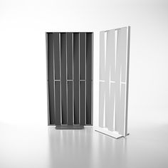 Sight divider screen with painted aluminum frame and steel base, seven fabric panels. Frame and base in White Ral Textured Forge Grey or Black Ral Screen fabric in Anthracite Grey or Light Grey. Wall Partition Design, Partition Ideas, Acoustic Wall Panels, Office Furniture Manufacturers, Space Dividers, Divider Screen, Malva, Decoration, Tall Cabinet Storage