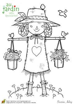 Coloriages jardinage mademoiselle epouvantail