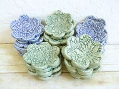 Vintage Lace Ceramic Wedding Favor Dishes by MyMothersGarden